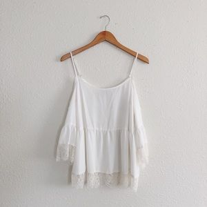 Lace cold shoulder blouse
